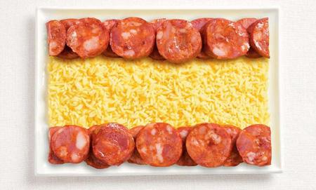 Espagne - Des drapeaux nationaux fait de nourriture