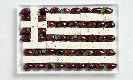 Grèce - Des drapeaux nationaux fait de nourriture